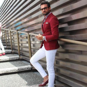 Men's Casual Red Suits With White Pants Groom Wedding Party Tuxedo Custom Custom Suit Prom Man Suits Tuxedo Suits Blazer