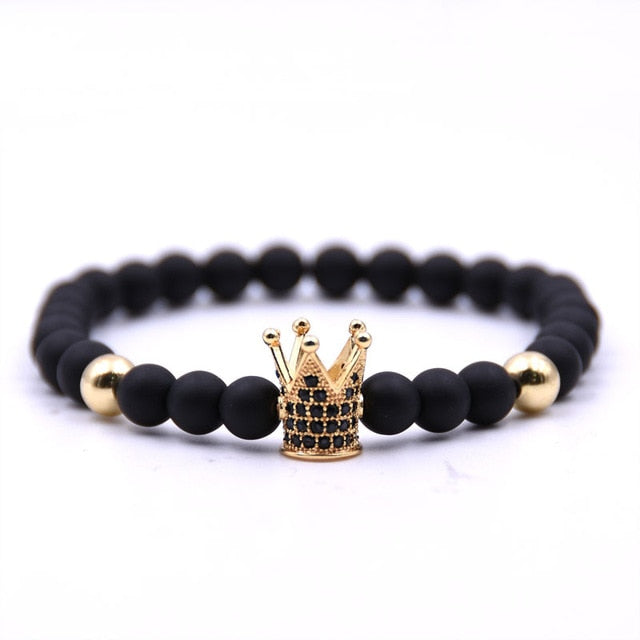 Bobo Cover Hot Lava Stone Pave CZ Crown Ball Charm Bracelet For Men Women Couples bracelets bangles Lovers Gift Pulseira hombres
