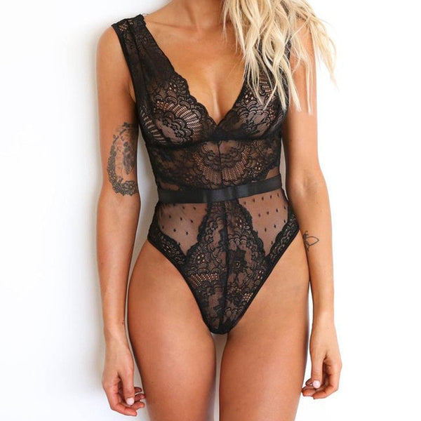 Women Sexy Lingerie Nightwear Lace Chiffon Thin Bodysuits Deep V-neck Plunge Teddies Lace Backless Leotard Top Jumpsuits