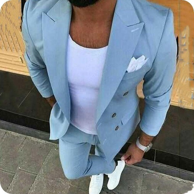 Hot Recommend Double Breasted Light Blue Groom Tuxedos Groomsmen Peak Lapel Mens Suits Blazers (Jacket+Pants+Tie) W:899