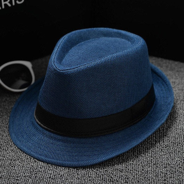 New Unisex Straw Fedora Cotton and linen fabric Panama solid color hat trillby hat sun hat men and women couples England visor
