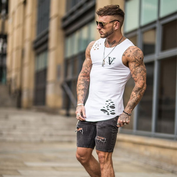 Summer fashion gyms tank top hole bodybuilding stringer tank top men fitness vests muscle guys sleeveless vest
