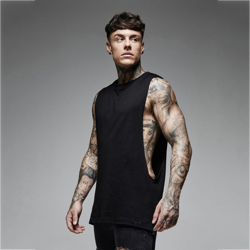 Joggers Long Tank Top Men Summer Fashion Sleeveless Shirt Men Bodybuilding Singlets Undershirt Fitness Tees Casual Male Tank Top