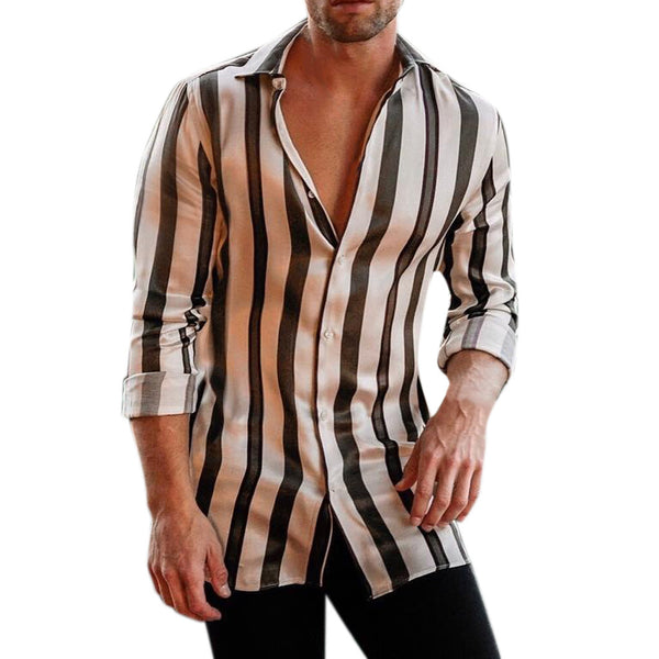 Mens Stripe Shirt Blouse Long Sleeve Printed Painting Large Size Casual Top Blouse Male slim fit Shirts camisas de hombre