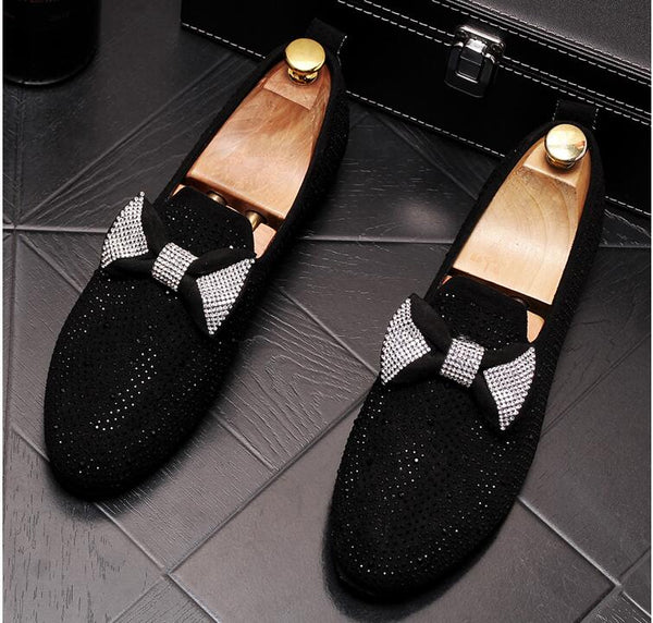 Handmade Black Rhinestone embroidery Men's Suede Loafers Wedding Party Men Shoes Luxury Gold Noble Elegant Dress Shoes for Men