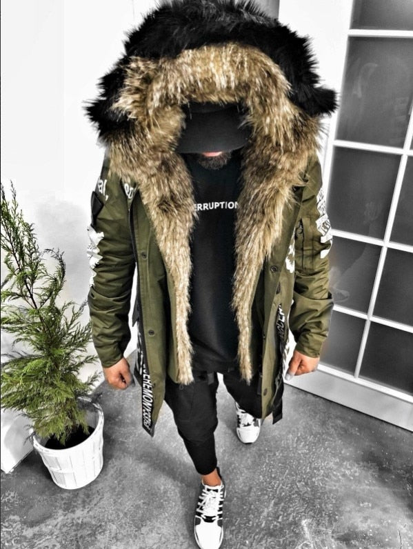 New Fashion Hot Brand Winter Jacket Men New Parka Coat Men Overseas Fur Hood Male Jacket Cold Casual Parks S-3XL