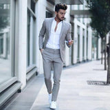 Latest Grey Mens Slim Fit Suits Casual Custom Mens Business Formal Tuxedo Wedding Suits 2 Pieces Costume Homme Jacket Pants