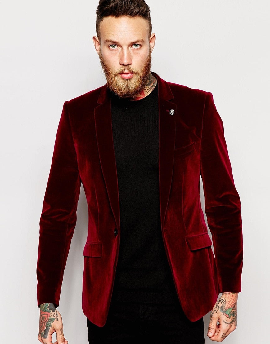 Velvet Blazer Casual Man Suit 2 Piece Mens Wedding Prom Party Suits Groom Tuxedos Custom Made(Jacket+Pants)terno