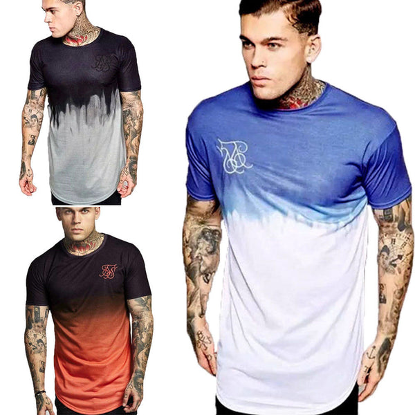 New Mens Summer Shirt Cotton Slim Fit Muscle Top Short Sleeve Plain Deep O Neck