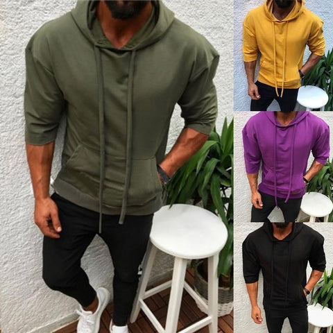 Men hooded slim casual sports plain color half-sleeve