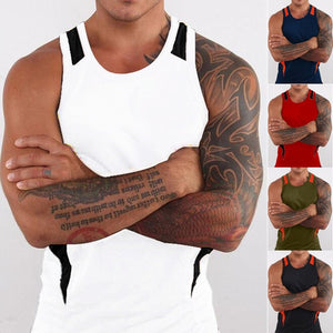 Men Sleeveless Shirts O-Neck Tank Top Men Workout Vest for Boys Bodybuilding Gym Fitness Slim Fit Sports Vest