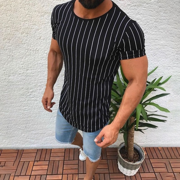 Summer New High Quality Men T shirt Casual Short Sleeve O-neck 100% Cotton Male Brand New Striped Tee Tops Plus Size XXL