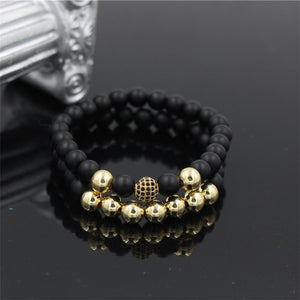 Fashion 2Pcs/Sets Men's Black Mala Matte Stone Bead Bracelet Set Micro Pave CZ Ball Charm Couple Bracelet Bangle Set
