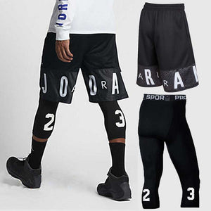 Men Basketball Sets Sport Gym QUICK-DRY Workout Board Shorts + Tights For Male Soccer Exercise Hiking Running Fitness Yoga