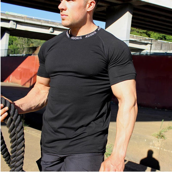 New Men Running Shirt Solid Short Sleeve Quick Dry T-shirt Fitness Slim Gym Sportswear Top Tees Tennis Soccer