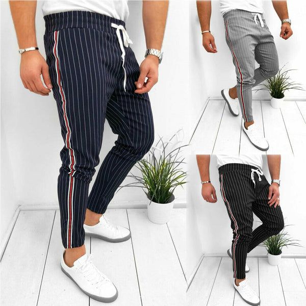 Stylish Hot Sale Men Striped Lace-up Casual Ankle-lengths Pencil Pants Summer Daily Comfortable Slim Fit Long Trousers S-XXL