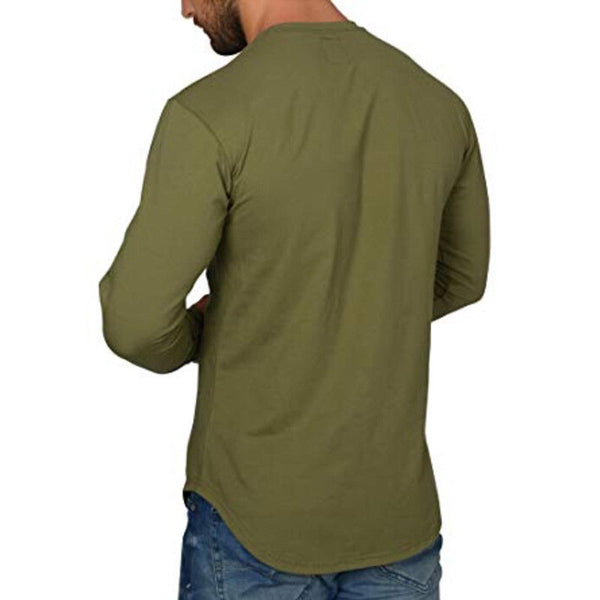 Men Long Sleeve Solid T-Shirts Irregular Curved Hem Loose O Tee HipHop Shirts Streetwear Casual Tops Oversize Basic Tee