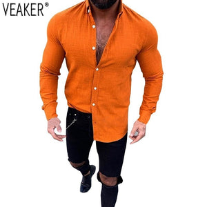 Men's Slim Fit Linen shirts Male Sexy V Neck Cotton Linen shirt Tops Solid Color Long Sleeve Flax shirts M-3XL