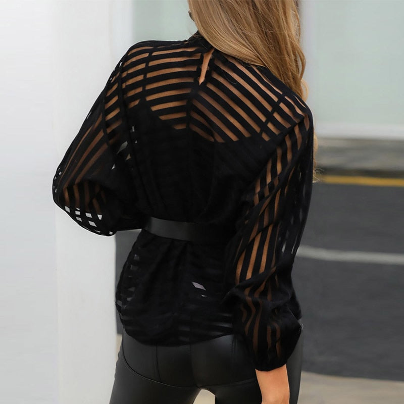 Women Stripes Keyhole Front Mesh Blouse Elegant Basic Black Casual Shirt Female Stylish OL Work Streetwear See Through Shirt