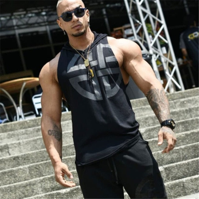 mens Hooded vest Summer Cotton Slim Fit Men Tank Tops Clothing Bodybuilding Undershirt Golds Fitness tops tees