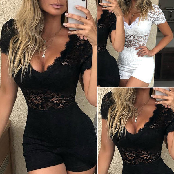 Hirigin Fashion Women V-Neck Lace Crochet Romper Shorts Jumpsuit Sexy Clubwear Hollow Out Playsuit Bodycon Feminino Overalls