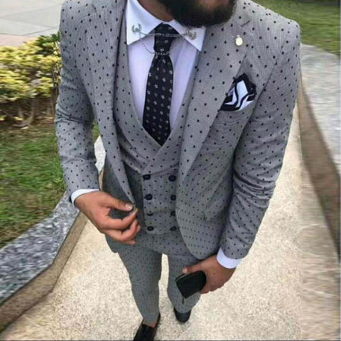 Men's Spotted Suit 3 Pieces Casual Notch Lapel Slim Fit Double Breasted Vest Tuxedos Groomsmen For Party(Blazer+vest+Pants)