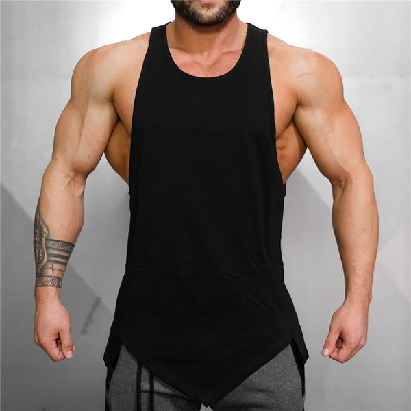 Muscleguys Gyms Stringer Clothing Bodybuilding Tank Top Men Fitness Singlet Sleeveless Shirt Solid Cotton Undershirt Muscle Vest