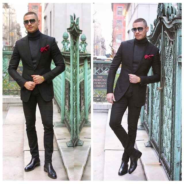 Classic Black Mens Suit Two Pieces Customized Slim Fitted Wedding Groom Tuxedos Formal Groom Formal Business Suit (Jacket +