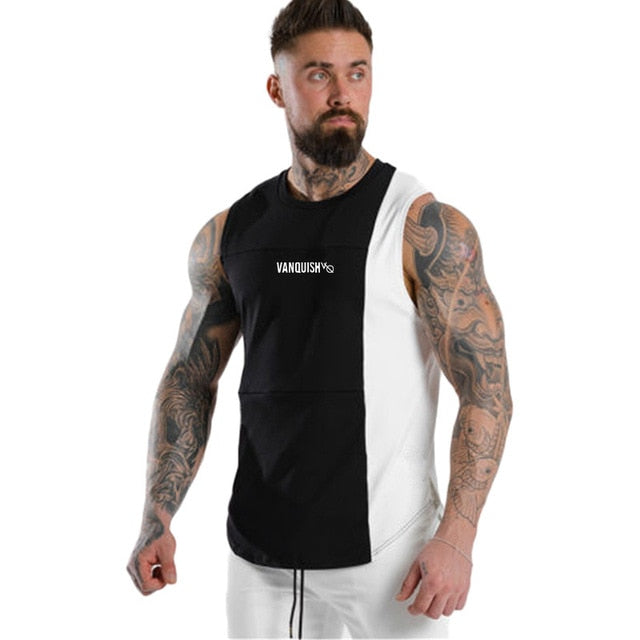 NEW Summer fashion gyms tank top Stitching bodybuilding stringer tank top men fitness vests muscle guys sleeveless vest