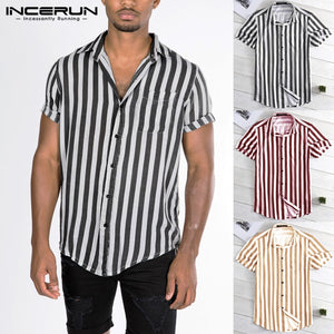 New Striped Shirt Summer Male Clothing Loose Fit Turn Down Collar Button Short Sleeve Shirt Camisa Casual Tee Tops