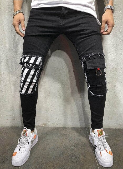 Trendy Men's Ripped Jeans Knee Hole Ankle ZipperSkinny Slim Fit Denim Pants Destroyed Frayed Trousers Fashion Design Black Jean