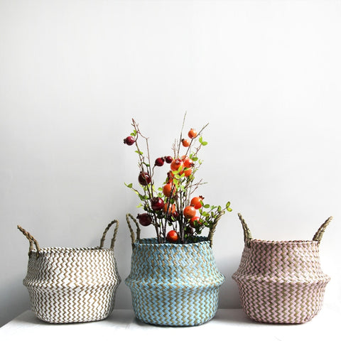 Handmade wicker storage basket collapsible laundry basket straw patchwork rieten mand seaweed striped flower basket