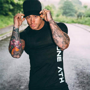 Men Running Tight Short T-Shirt CottonT Shirt Male Gym Fitness Bodybuilding Jogging Tees Tops Clothing