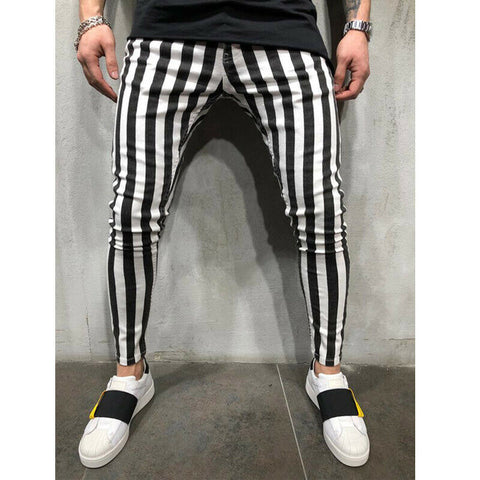 Fashion Clothing Suit Many Occasion Men's Summer Fashion Slim Comfortable Striped Plaid Black White Casual Pant