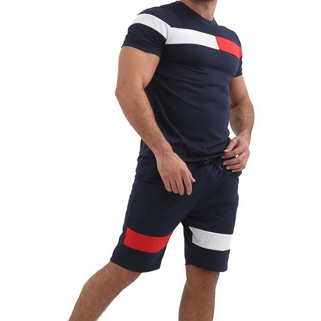 Sport Suit Men Summer Fitness Running Two-Piece Sets T-shirt Tops Short Pants Tight Jogging Homme Mens Tracksuit Clothes
