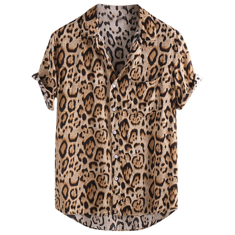 Shirt Mens Leopard Printed Chest Pocket Turn Down Collar Short Sleeve Casual Loose Shirt Camicia calda da uomo