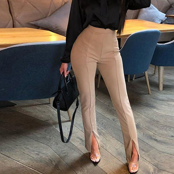 Women Front Slit Pencil Pants Solid Color High Waist Pants Elegant Office Ladies Tight Trousers Workwear