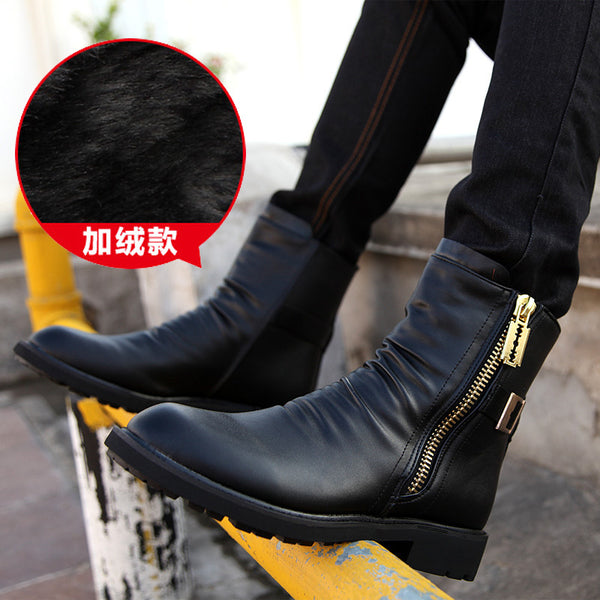 Good Brand Men's Boots Ankle Low Heel Business Party Boot Basic Dress Boots for Men Genuine Leather Solid Black