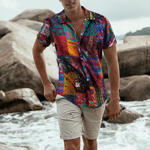 Male's Tops Mens Ethnic Short Sleeve Casual Cotton Linen Printing Hawaiian Shirt Nuevo estilo de moda masculina