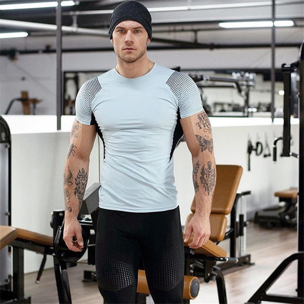 summer short crew neck polyester fashion bodybuilding fitness clothing t shirt blusa masculina vetements