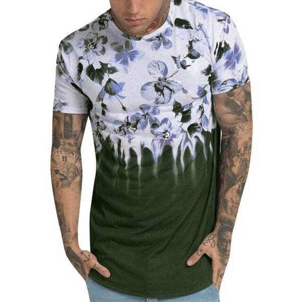 Fashion Men Flower Gradient Print Short Sleeve O-Neck T-Shirt Tops S-2XL Instyle Vetements de mode pour hommes