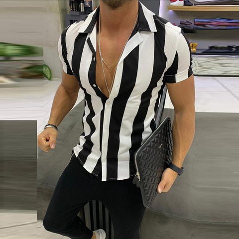 Striped Shirts Streetwear Men Casual Shirts Printed Homme Short Slim Fit Men Male Fashion Blouse Shirt Men's Clothing