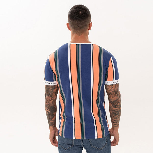 New Mens Striped t shirt Summer Loose Short sleeve O-Neck T-shirt Male Casual Fashion Hip hop Tees Tops Streetwear Clothing