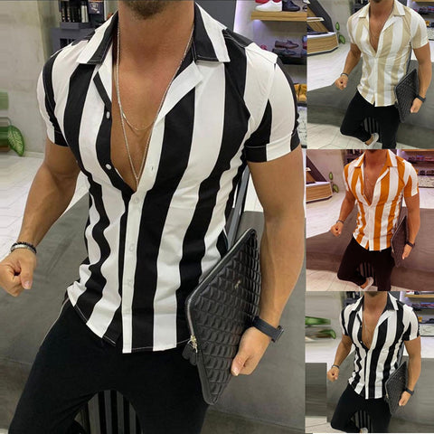 Stylish Male's Tops Mens Fashion Print Splicing Colorful Stripe Short Sleeve Loose Shirt Nuevo estilo de moda masculina