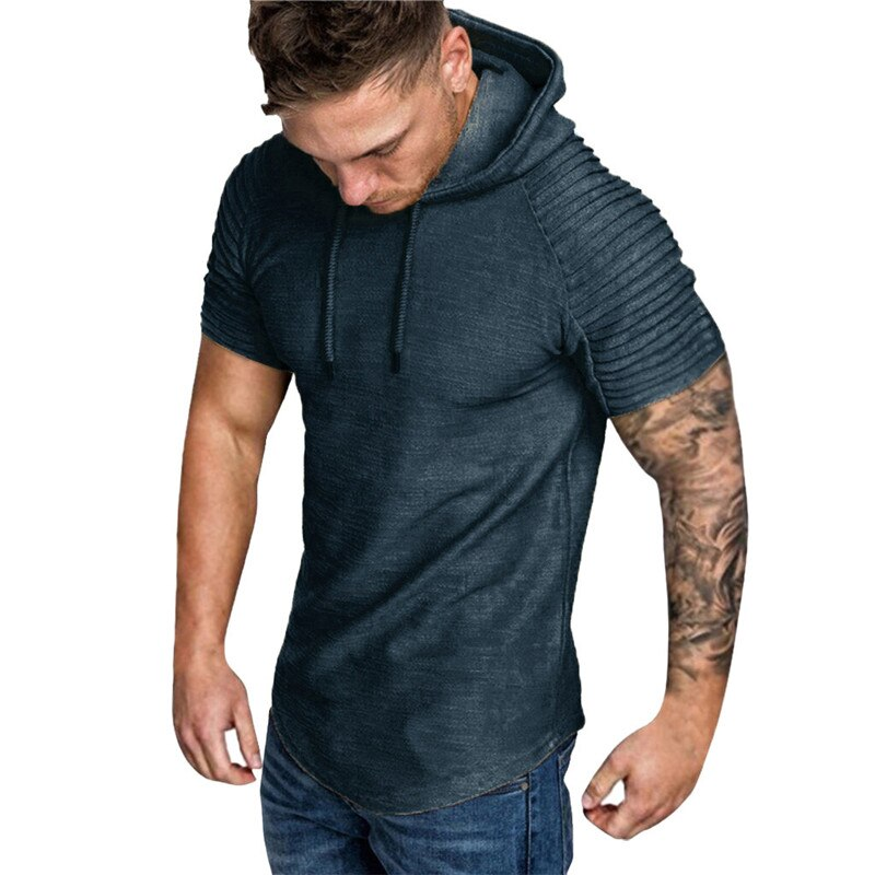 Summer New Fashion Man's T-shirts Casual Cotton Solid O-Neck Pleats Slim Fit Raglan Short Sleeve Hoodie T-shirt