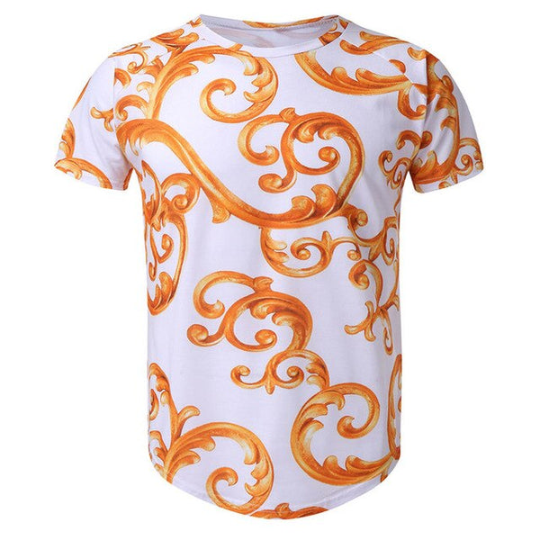 Summer Men's Casual Short-sleeved Ethnic Style Round Collar Fitness T-shirts Top Neues Angebot Herren T-Shirt