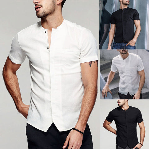 Men's Vintage Baggy Cotton Linen Solid Short Sleeve Retro T Shirts Tops Ropa de moda para hombre