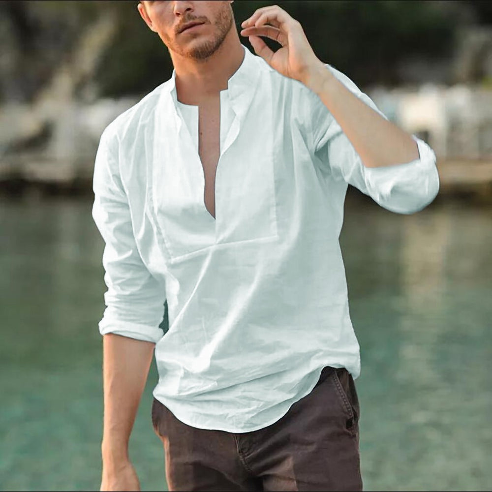 Male's Top Mens Linen Long Sleeve V Collar Handsome Boy Solid Color Loose Casual T Shirt   S-3XL Hauts pour hommes