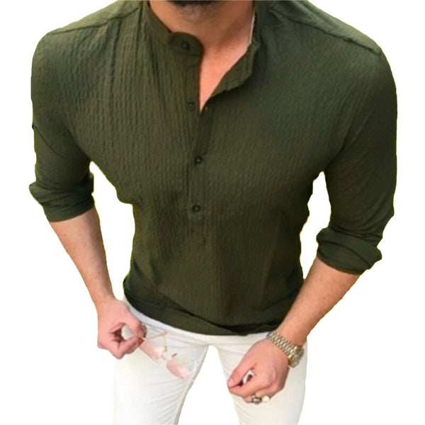 Men Shirts Dress Long Sleeve Plain Solid Slim Fit Crew Neck Tee Tops Off White Shirts Camisas Masculina Clothes