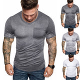 Men V Neck Solid Splicing Pattern Casual Fashion  Lapel  Short Sleeve Shirt Ropa de hombre